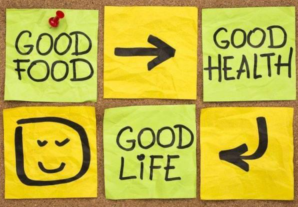 Graphic of sticky notes with the words good food, good health, and good life